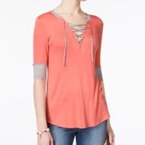 Rebellious One Contrast Trim Lace Up High-Lo Tee